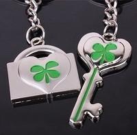 Lucky four leaf clover couple key chain key chain gift