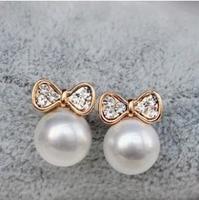C25R14 Fashion Designer Jewelry Simulated-pearl Rhinestone Bow Stud Earrings