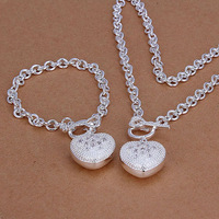 Lose Money Promotions! 925 silver jewelry set, fashion jewelry set Inlaid Heart Key To Two-Piece Jewelry Set S025