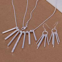 Lose Money Promotions! 925 silver jewelry set, fashion jewelry set Five Rods Pillars Earrings Necklace Jewelry Set S159