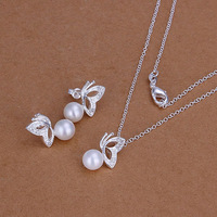Lose Money Promotions! 925 silver jewelry set, fashion jewelry set White Butterfly-Pearl S198