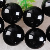 15-inch black agate  homes scattered beads string size 14mm