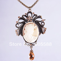 12Pcs/Lot,Vintage Bohemia Antique Cameo Palace Cutie Head Long  Fashion Necklace Jewelry,Wholesale Free Shipping