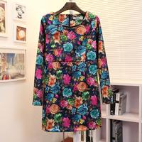 Vintage oil painting flower velvet fabric slim one-piece dress c37