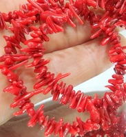 Natural Red Coral   Chip Loose Beads 15""