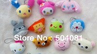 2.5'' Hello kitty/TOTORO /bunny/tigger/Rilakkuma Cell phone wipe/animal cartoon Strap Mobile/bag Pendant/plush birthday gift