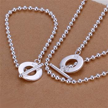 S187 2013 New Wholesale Silver Plated Beads Loop Necklace Bracelet Jewelry Sets Free Shipping(China (Mainland))