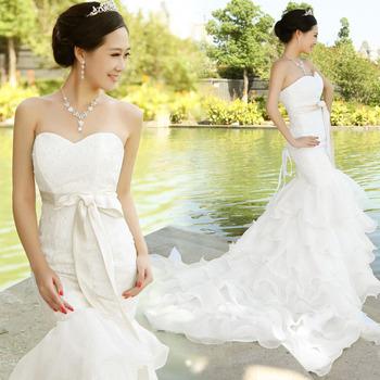 2013 plus size wedding dress tube top lacing bride wedding formal dress bandage fish tail skirt train wedding dress