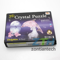 Hot sell 1 pcs Free Shipping/Drop Shipping  3D Crystal  Puzzle Decoration Dolphin small size