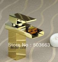 Deck Mounted Golden Polish Finish Mixer Waterfall Faucet Bathroom Basin Mixer Sink Tap Basin Faucet Vanity Faucets L-0185