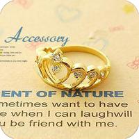 (mixed order) Retail E1259 accessories diamond cutout three-dimensional heart finger ring finger ring (KE)