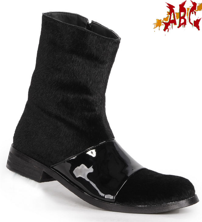 Vintage horse hair black boots r a15-006a male velvet medium-leg boots 1213(China (Mainland))
