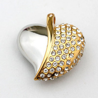 Jewelry Crystal Leaves Heart Shape USB Flash Drive 1GB 2GB 4GB 8GB 16GB 32GB 64GB Wholesale