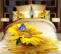 Big 3d yellower sunflower bedding sets queen size 4pcs flowers duvet/comforter cover bed sheet bedclothes cotton home textile