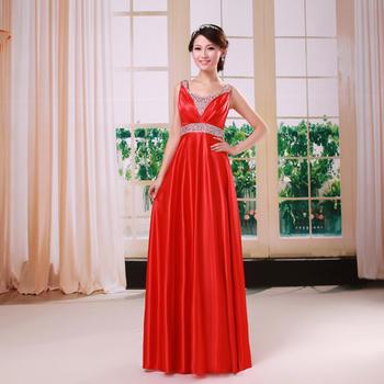 Free shipping 12 slit neckline bridesmaid dress long dress evening dress formal dress long design