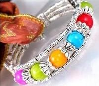 Free shippingBeautiful Tibet Silver Color Jade Bracelet