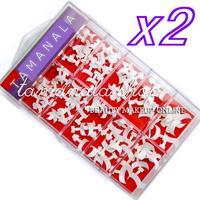 2Box x 100 PCS ACRYLIC GEL FALSE FRENCH NAIL ART TIPS BOX CASE SALON ARTIST SET - WHITE