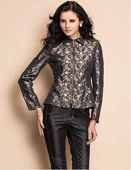 2013 New Spring fashion Military Style Zippered Jacquard Jacket short  outwear women fashion garments free shipping