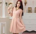 New arrival 2013 Cream/Pink/Black mature ladies cotton work dresses new design,long sleeves designer clothes TT9999A