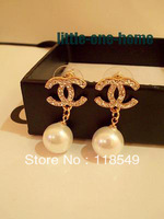 Free shipping New Jewelry Sweet fashion Golden LOGO Set full crystal pearl pendant stud earrings