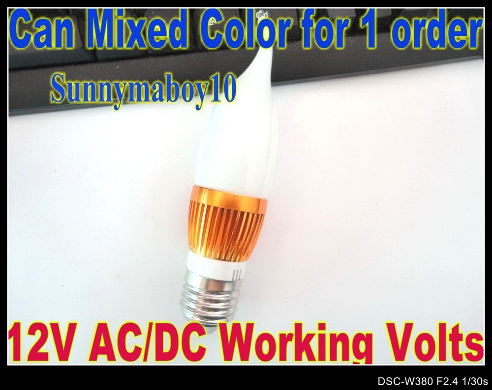 High power AC/DC 12V E27 2PCS/LOT 3W Candle Light Cream White Flame Shape Glass Cap LED bulb LED Lamp 6colors Golden Case LC20(China (Mainland))