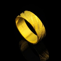 Male women's scrub gold plated ring wedding ring gold lovers ring alluvial gold ring