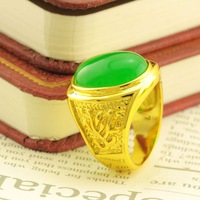 Male jade stone alluvial gold ring 18k gold accessories quality gold plated ring wedding ring