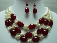3Row white pearl red jade necklace earrings nk35gj