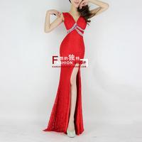 2013 fashion lace V-neck racerback bride evening dress formal dress full dress one-piece dress h0516 sexy club wear