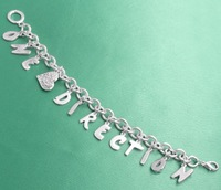 One Direction Zinc alloy Charm Bracelet With High Quality Alphabet Charm 12pcs/lot Free shipping