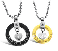 FREE SHIPPING 1pair fashion jewelry stainless steel pendant for lovers romantic pendant chain pendant necklace