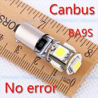 4pcs  BA9S 5 SMD Pure White CANBUS Error Free Interior Car T4W H6W 5 LED Light Lamp Bulb V4 12V