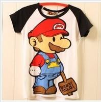 Free shipping cartoon Mario women's short-sleeve 100% cotton t-shirt lady t shirt