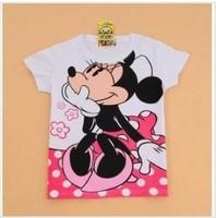 Cartoon minnie 100% cotton women t shirt summer short sleeve lady t shirt