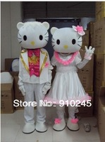 Pink HELLO-KITTY  Plush Cartoon Character Mascot Costume Christmas Hallowmas Party Dress free shipping and drop shipping
