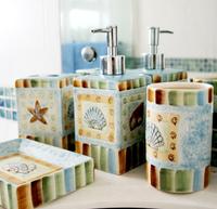Free skhipping Ceramic bathroom set romantic ocean style  fashion bathroom kit new arrive 2013  5 pieces one set