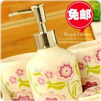 Free shipping new arrive bathroom set 5 pieces per set Romantic ceramic bathroom kit