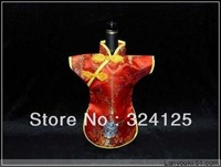 Free shipping wholesale 10pieces 28*21 chinese cheongsam wine bottle bags wedding party gift bag