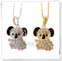 Retail genuine 2G/4G/8G/16G/32G/64G usb flash drive memory pen stick koala Diamond Jewelry Metal 50pcs Fast Free shipping