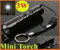 3W Mini Aluminum LED Flashlight Torch Waterproof Camping Sporting Portable Led Torch Free shipping wholesale