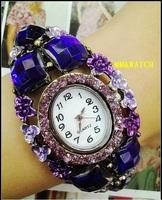 Factory direct green fashion bronze bracelet type diamond vintage watches the most gorgeous folk style decorative flowers