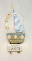 free shipping,Mediterranean Style Handcraft  Boat hanger, wooden ship hanger, Wooden Craft,easter decoration,H26cm