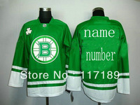 Free shipping!stitched On Customized Boston Bruins Green colors ice hockey jerseys Sewed Your Name And Your Number size 48-56
