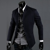Free shipping 2013 mens fashion stand collar suit tops casual slim fit stylish blazer jacket for man 3 colors size M-XXL