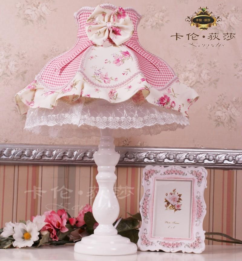 Rustic table lamp bedroom lamp ofhead princess lace table lamp pink plaid(China (Mainland))
