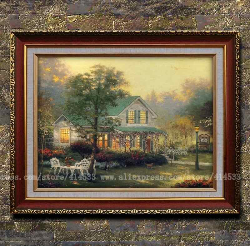 Thomas kinkade prints of oil painting village inn country menories garden landscape painting - Home decor promo code paint ...