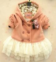 Free Shipping Long Sleeve Girl hooded Coat Dress Children Coat
