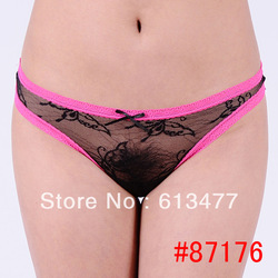 Floral G-string Sexy Lingerie Women Panty lace Underwear Lady Thong Intimate Wear, g string for women,different color 87176-1(China (Mainland))