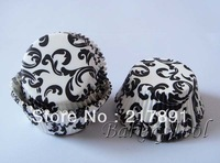classical white black damask Cupcake Liners,paper Baking Cups wholesale,Muffin Cases chocolate cases D:2in H:1.25in mother's day