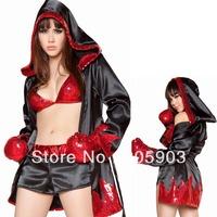 Free shipping Fancy dress costume Wholesale12pcs/lot Sexy Party costume Game uniform Champion Women Boxer Costume 8640